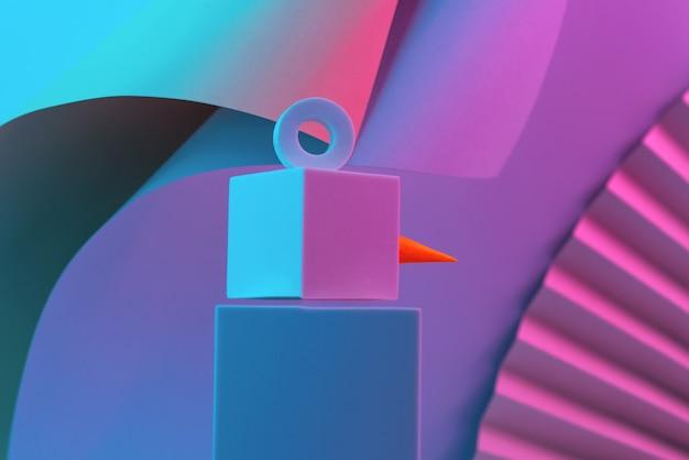 Der polygonale schneemann der würfel wird mit neonlicht beleuchtet
