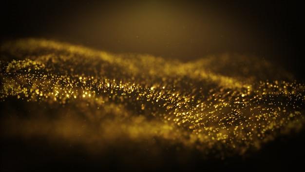 Der populäre abstrakte hintergrund, der goldstaubpartikel glänzt, spielt animation der funkenwelle 3d die hauptrolle
