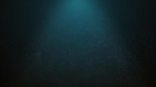 Der populäre abstrakte hintergrund, der partikel des blauen staubes glänzt, spielt funken die hauptrolle