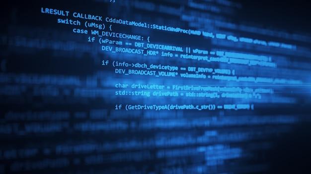Der programmiercode arbeitet über die 3d-abbildung des computerbildschirmterminals