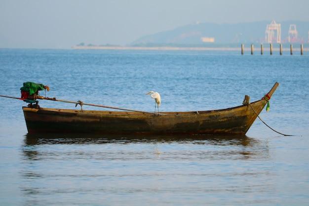 Der reiher stand auf der suche nach nahrung aus einem boot, das im blauen himmel am meer vor anker lag