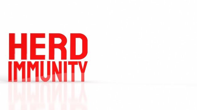 Der rote herdenimmunitätstext für das 3d-rendering des viruskrisenkonzepts