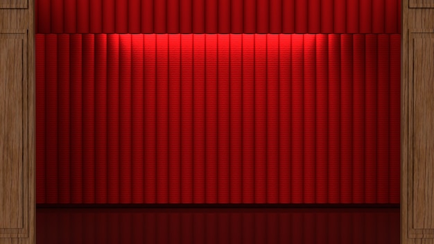 Der rote vorhang der bühne für das 3d-rendering des gegenwärtigen konzepts