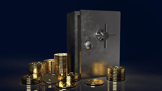 Der safe und die goldmünzen in dunklem hintergrund für 3d-rendering von sicherheitsinhalten
