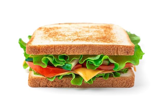 Der sandwich club ist auf einem weißen hintergrund fast food isoliert