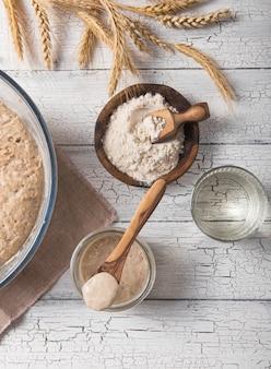 Der sauerteig für brot ist aktiv. starter-sauerteig (fermentierte mischung aus wasser und mehl als sauerteig zum brotbacken). das konzept einer gesunden ernährung