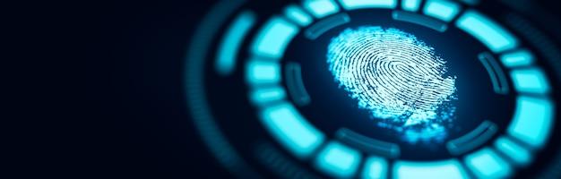 Der scan mit der fingerabdrucktechnologie bietet sicherheitszugriff. fortschrittliche technologische verifikation der zukunft und kybernetik. biometrie-authentifizierung und identitätskonzept. 3d-rendering.