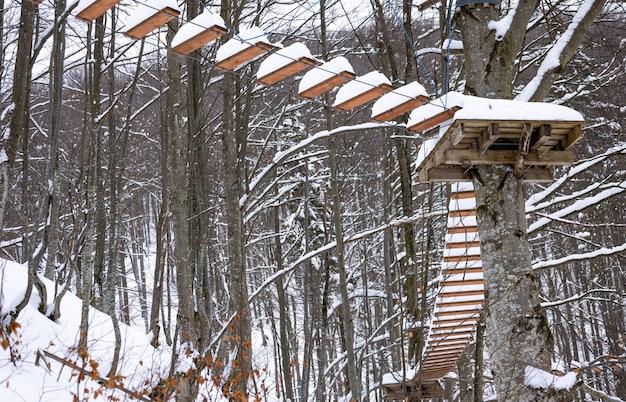 Der schneebedeckte seilpark befindet sich im winter in den bäumen in einem wüstenwald