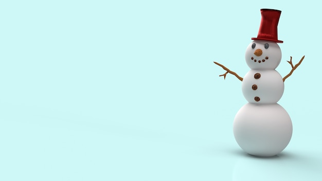 Der schneemann auf blauem hintergrund für weihnachtsinhalts-3d-rendering