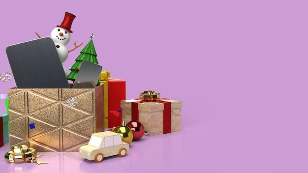 Der schneemann und die geschenkboxen für das 3d-rendering des weihnachtsinhalts