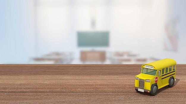 Der schulbus auf holztisch im klassenzimmer für den schul- oder bildungskonzept 3d-rendering