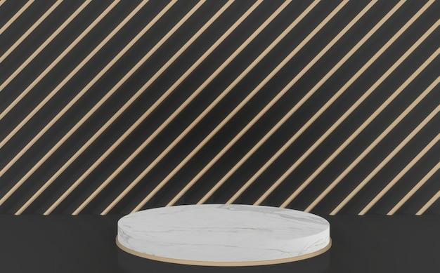 Der schwarz-goldene hintergrund und das leere mini-white-circle-podium. 3d-rendering