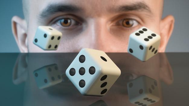 Der spieler erwartet eine gewinnkombination.