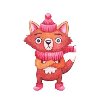Der süße winter-aquarell-fuchs in kleidung - eine strickmütze, ein schal und ugg-stiefel - quollen seine augen vor der kälte, weil er erstarrte. karikaturtier für weihnachtsdekorationen.