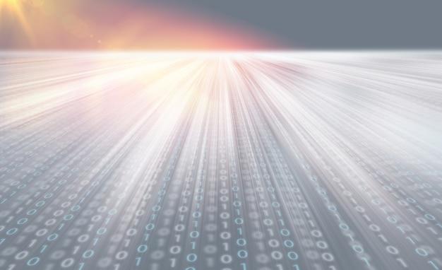 Der übertragungseffekt digitaler datencodes bewegt sich schnell in die tiefe