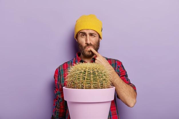 Der unzufriedene junge mann sticht seinen finger vom kaktusdorn, steht in der nähe einer topfpflanze und trägt einen gelben hut