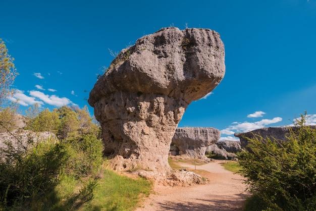 Der verzauberte stadtnaturpark, gruppe crapicious formt kalksteinfelsen in cuenca