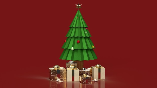 Der weihnachtsbaum und geschenkboxen für urlaubsinhalte Premium Fotos