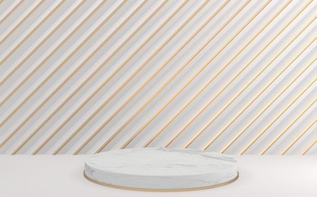 Der weiß-goldene hintergrund und das leere mini-white-circle-podium. 3d-rendering