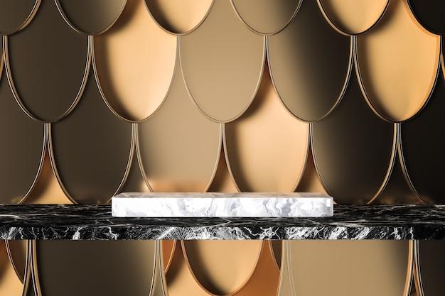Der weiße marmorsockel auf schwarzem marmor, goldene fischschuppen-kunstwerke auf beigem hintergrund. 3d-rendering