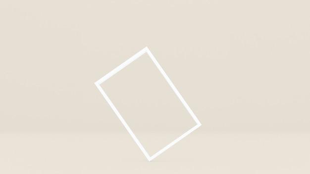 Der weiße rechteckige rahmen ist auf einem cremefarbenen hintergrund abgewinkelt.