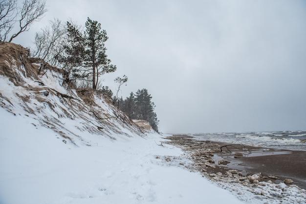 Der wilde strand der ostsee ist im winter schneebedeckt und es gibt große wellen