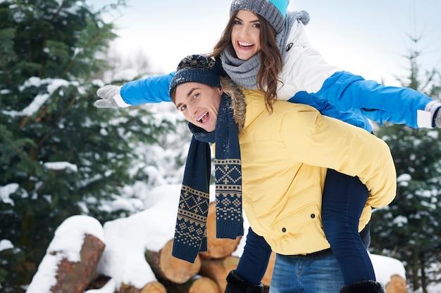 Der winter ist eine glückliche zeit für uns