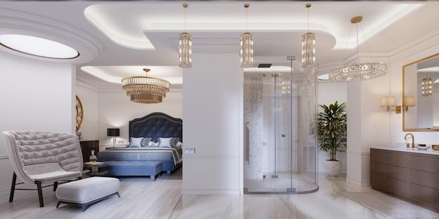 Design-apartment mit offenen schlafzimmern und badezimmern im modernen stil. 3d-rendering.