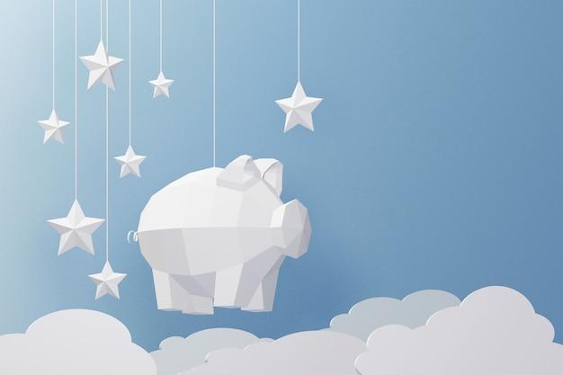 Design der wiedergabe 3d, papierkunst und handwerksstil des niedrigen polyschweins.