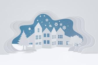 Design der Wiedergabe 3D, Papierkunstart der städtischen Landschaftslandschaft des Schnees mit Kopienraum.