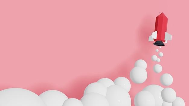 Design der wiedergabe 3d, raketenstart im himmel auf einem rosa hintergrund.