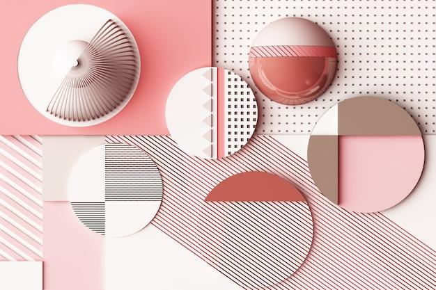Design mit zusammensetzung der geometrischen formen in der pastellrosa-ton-3d-rendering-illustration