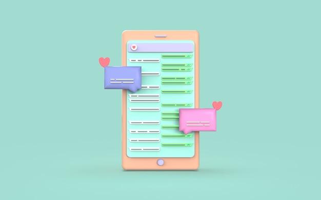 Design niedlich chat illustration media social smartphone 3d render
