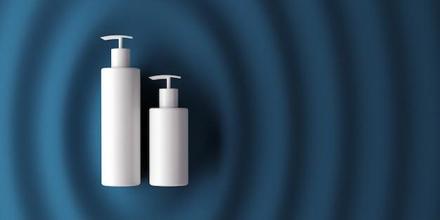 Design von naturkosmetikcreme, serum, leere flaschenverpackung für die hautpflege. bio-bio-produkt. präsentationsvorlage. abstrakter hintergrund. 3d-darstellung