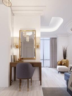 Designer arbeits- und schminktisch aus holz mit spiegel in vergoldetem rahmen und leuchtenden wandleuchten in der suite. 3d-rendering.