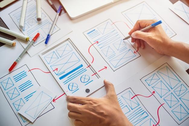 Designer-entwicklung ux-grafikprototyp-anwendung