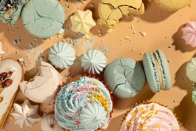Dessert-arrangement mit draufsicht
