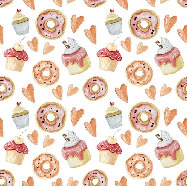 Desserts und lebensmittel textur in rosa farbe. süße desserts nahtlose muster