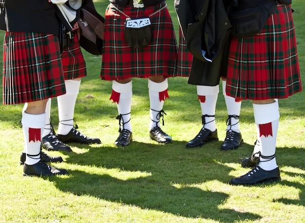 Detail der original schottischen kilts während der highlands-spiele
