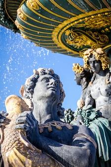 Detail des brunnens der meere, concorde square, paris