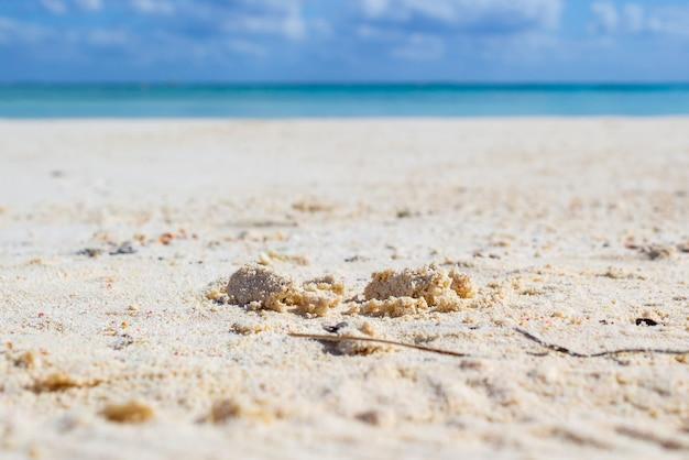 Detail des weißen und feinen sandes eines tropischen strandes.