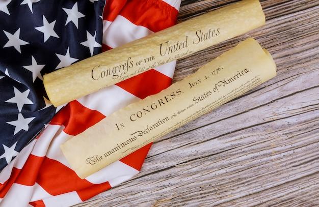 Detail dokument vintage pergament der amerikanischen verfassung der unabhängigkeitserklärung der vereinigten staaten 4. juli 1776
