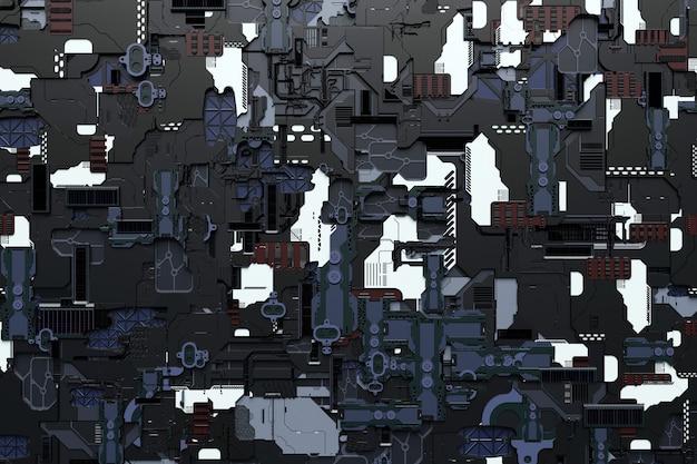Detail einer futuristischen maschine. 3d-darstellung einer futuristischen wand aus verschiedenen details. cyberpunk-hintergrund. industrielle tapete. grunge-details