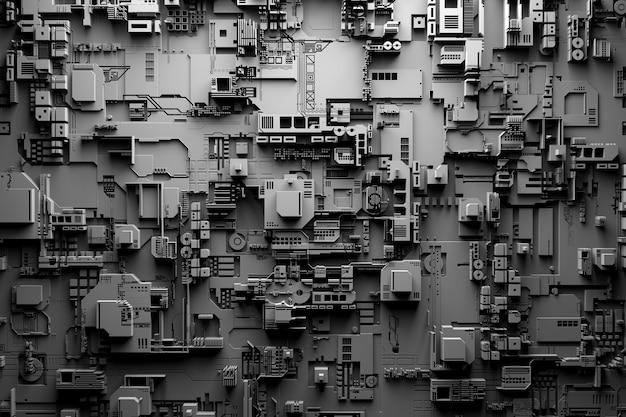 Detail einer futuristischen maschine. 3d-illustration einer futuristischen wand aus verschiedenen details unter weißen lichtern. cyberpunk-hintergrund. industrielle tapete. grunge details