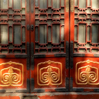 Detail eines fensters in der verbotenen stadt, peking, china