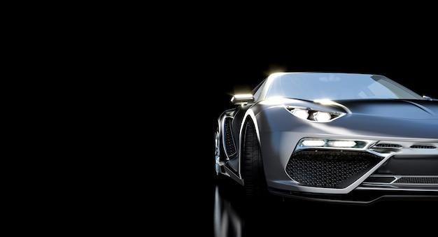 Detail eines luxus- und sportwagens auf einem schwarzen
