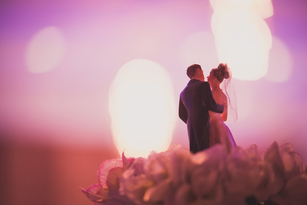 Detail eines schönen weinlesekuchens für die heirat