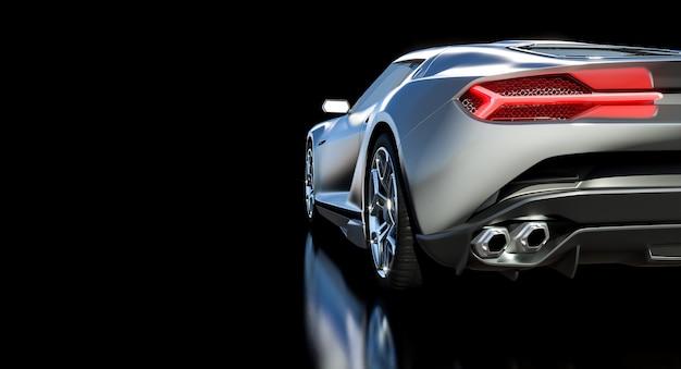 Detail eines sportwagens von hinten gesehen. 3d-rendering.