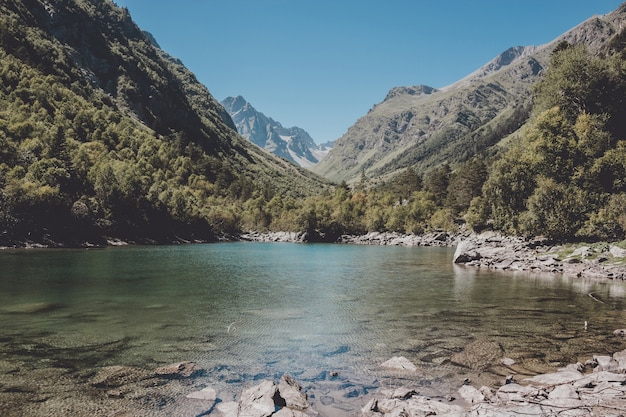 Detailansicht der seeszenen in den bergen, nationalpark dombay, kaukasus, russland, europa. sonnenscheinwetter, blauer farbhimmel, weit entfernte grüne bäume. bunter sommertag, zeit
