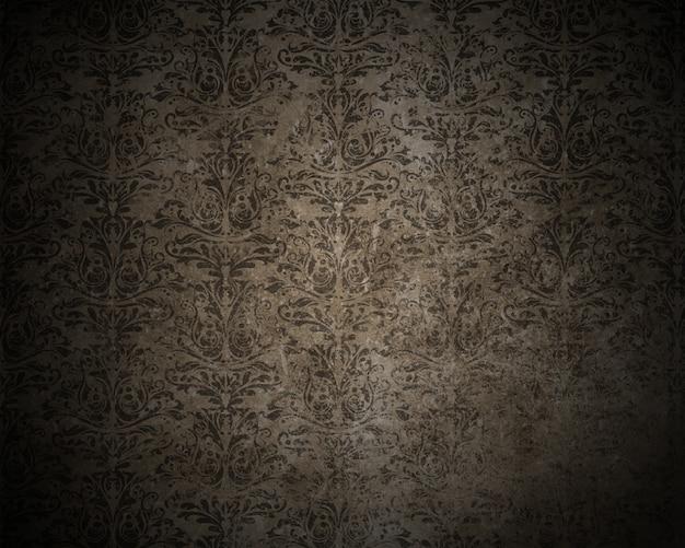 Detaillierte dunklen grunge hintergrund mit einem damast-design